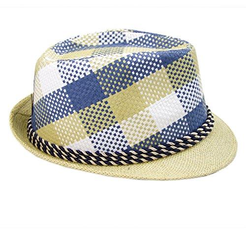 Preisvergleich Produktbild Rawstyle Trendiger Strohhut,  Sommer-Herren-Hut,  Verschiedene Designs,  Partyhut (Beige Blau)