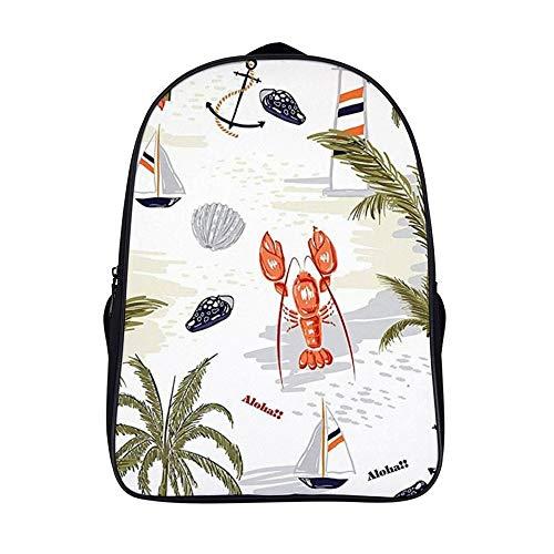 Xiahail Stilvolle Schultasche für Mädchen und Jungen, Reisetasche, Laptoprucksack, Studentententasche, strapazierfähig, multifunktional, Freizeit-Book, süßes Strandboot