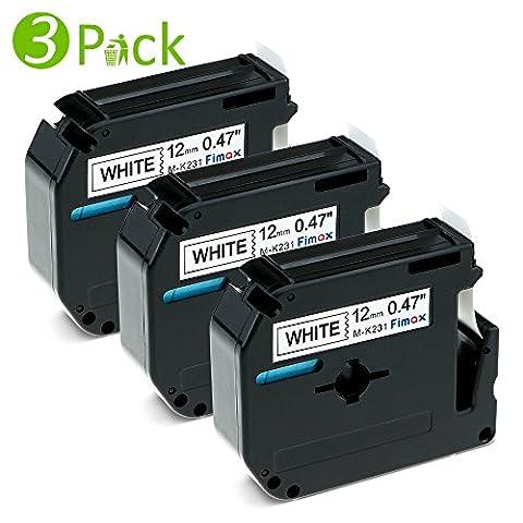 Fimax 3 Combo Pack M Label Tape 12mm ( M-K231 MK231 M-231) Compatible for Brother P-Touch PT-65 PT-70 PT-80 PT-90 PT-M95 Etc., Black on White