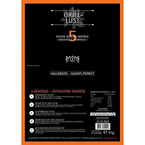51qG4a%2BnMeL - Hallingers 5er Premium-Grill-Gewürze als Geschenk-Set (95g) - Grilllust (MiniDeluxe-Box) - zu Sommer Grillen Für Ihn