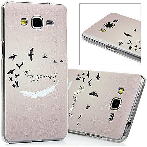 Samsung Galaxy Grand Prime G530H Funda - Lanveni® Chic Elegante Carcasa Rigida PC ultra Slim para Samsung Galaxy Grand Prime G530H G5308 Transparente Protective Case - Patrón plumas de aves Diseño
