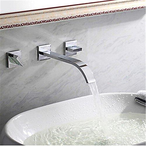 Einhebel-Küchenarmatur Wasserhahn Küchenarmatur Kupfer Wasserhahn Bad Waschbecken Wasserhahn Warme und Kaltwaschbecken Wasserhahn in die Wand drei Löcher Doppelgriff mit US Standard Armaturen - Standard 3-loch