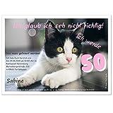 personalisierte Einladungen für Geburtstag bestandene Prüfung Silvester - eigener Text Katze mit Spruch, 90 Karten - 21 x 14,8 cm DIN A5