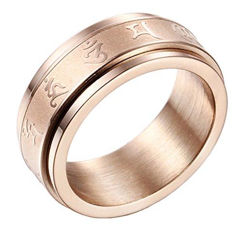 PAURO Herren Edelstahl Jahrgang Buddhismus Charm Tibetan Mantra Spinner Ring OM Mani Padme Hum 8mm Band Rose Gold Größe 60 (Gold Ring Herren Gelb Hochzeit Band)