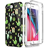 SURITCH Coque iPhone 7 Plus / 8 Plus Silicone 360 Degrés Integrale Kawaii Souple Antichoc Etui Case De Protection Avant et Arrière Housse iPhone 8 Plus / 7 Plus - Cactus