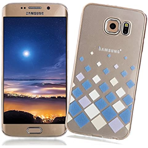 Funda Samsung Galaxy S6 EDGE XiaoXiMi Carcasa Transparente de Silicona Clear Soft TPU Silicone Case Cover Bumper Funda Protectora Carcasa Blanda Caso Suave Flexible Caja Delgado Ligero Casco Anti Rasguños Anti Choque Funda con Patrón de Diseño único para Samsung Galaxy S6 EDGE - Cuadrados Blancos Azules