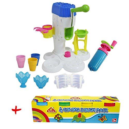 emma eismaschine Leo & Emma Space Doh Eismaschine + 4 große Töpfe Space Doh Play Kinderknete mit je 140 Gramm Knete
