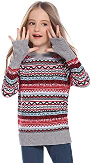 Hawiton Jersey Navidad Familia Suéter Invierno de Cuello Redondo Pulóver de Punto para Hombre Mujer Niño Niña