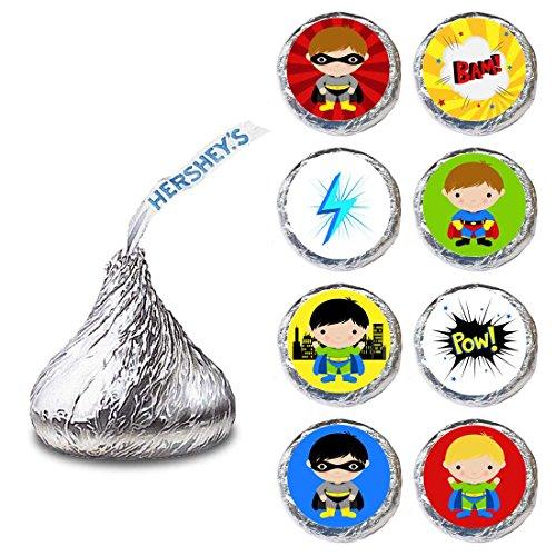 orations - EU Superheld-Junge Etikette für Hershey S Küsse Pralinen - Geburtstags-Party-Süßigkeit Aufkleber - Satz von 240 ()