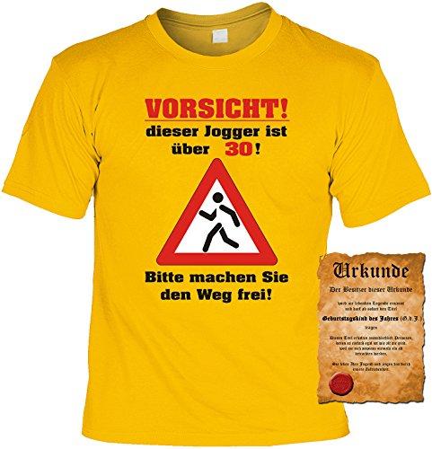 Witziges Geburtstags-Spaß-Shirt + gratis Fun-Urkunde: Vorsicht! dieser Jogger ist über 30 Gelb