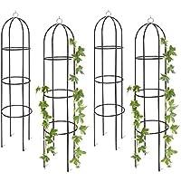 4x Rankobelisk, Rankhilfe freistehend, dekoratives Rankgestell für Garten, Rankturm, Metall, grün, HBT: 190 x 40 x 40 cm