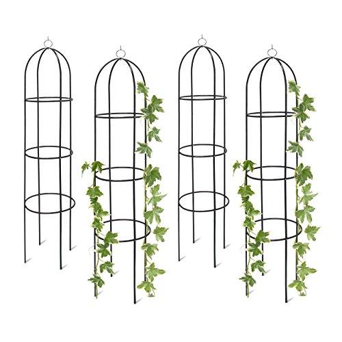 floristikvergleich.de 4x Rankobelisk, Rankhilfe freistehend, dekoratives Rankgestell für Garten, Rankturm, Metall, grün, HBT: 190 x 40 x 40 cm