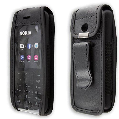 caseroxx Handy-Tasche Ledertasche mit Gürtelclip für Nokia 215 Dual SIM aus Echtleder, Handyhülle für Gürtel (mit Sichtfenster aus schmutzabweisender Klarsichtfolie in schwarz)