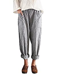 Sunenjoy Pantalon Rayures Taille Haute Femmes Palazzo Jambes Large Fluide  Chic Décontracté Confortable Mode Casual Grandes ed7b12eecb3