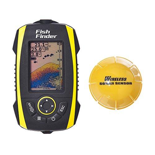FishingSir Ecoscandaglio Portatile con Sensore Sonar Senza Fili con un livello di protezione impermeabile IP67