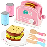 Lewo Toaster Set Pop Up Toaster Wooden Play Food and Kitchen Accessories Pretend Play Kitchen Set Educational Toys for Kids Children Toddles