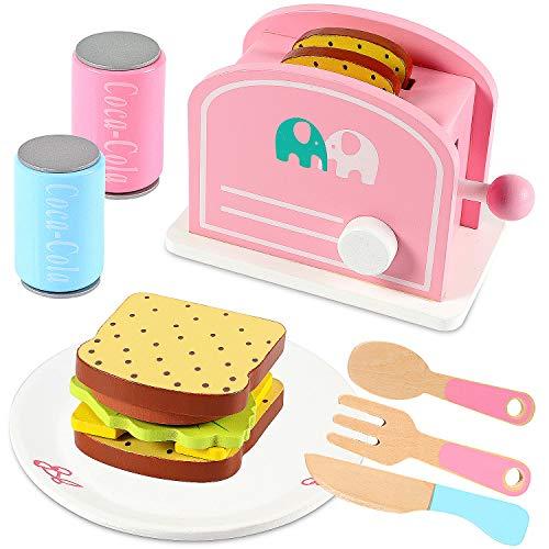 Lewo Set de Tostadora Comida de Juego de Madera Accesorios de Cocina El Juego de Aparentar Juego de Cocina Juguetes Educativos para Niños
