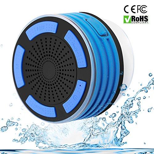 Duschradios Tragbarer wasserdichter Bluetooth Lautsprecher, eingebautes FM Radio, drahtloser Lautsprecher, mit Saugnapf, stoßfest, kompatibel mit IOS und Android. Unodeco U028