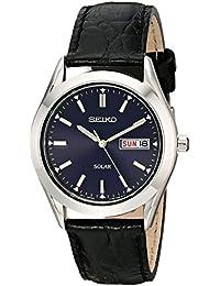 Seiko SNE049 - Reloj solar para hombre en acero inoxidable con correa negra