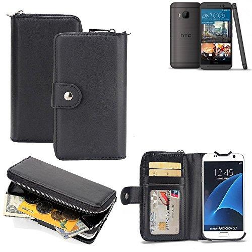 K-S-Trade 2in1 Handyhülle für HTC One M9 (Prime Camera Edition) hochwertige Schutzhülle & Portemonnee Tasche Handytasche Etui Geldbörse Wallet Case Hülle schwarz
