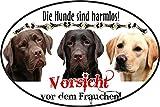 Hundeaufkleber Labrador Retriever - Kleber mit 3 Labbis personalisierbar, Ø 10 cm