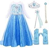 AmzBarley Elsa Vestito Bambina Regina delle Nevi Costume Ragazze Principessa Partito Abiti per Bimba con Vestito Lungo Compleanno Carnevale Halloween