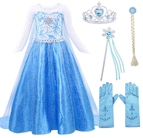 AmzBarley ELSA Kostüm Prinzessin Kleid Eiskönigin für Kinder Mädchen Kleider Halloween Cosplay Geburtstag Party Verrücktes Kleid Karneval Zeremonie Ankleiden, Blau 1 mit Dekorationen, 3-4 Jahre (Mädchen Halloween-kostüme Für Drei)