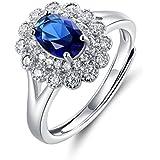 JiangXin Bague Femme en Argent Sterling 925 en Saphir Synthétique Bleu en Forme Coeur Ouverte Ajustable Pour Fiançailles Alliance Mariage Anniversaire Amour