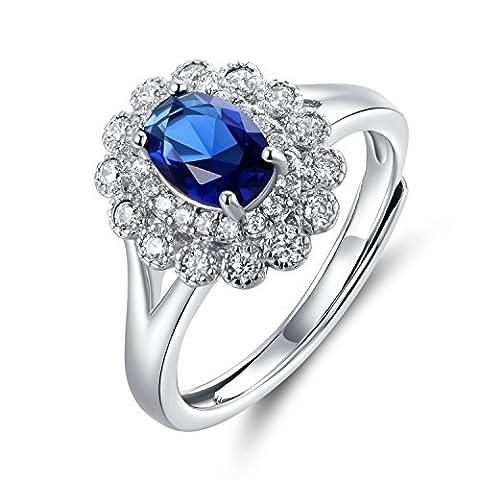 JiangXin Damen 925 Sterling Silber Ring Solitärring Blume Prinzessin Öffnung Verstellbar Blau Synthetisch Saphir