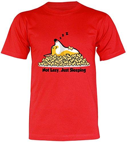 PALLAS Unisex's Corgi Cute Puppy Sleeping Funny T-Shirt Red