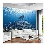 YUANLINGWEI 3D Benutzerdefinierte Wandmalerei Hai Unterwasser Poster Tapete Wohnzimmer Schlafzimmer Wohnkultur,270cm (H) X 350cm (W)