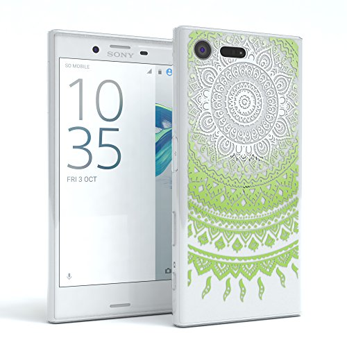 "Sony Xperia X Compact Hülle - EAZY CASE Slimcover ""Clear"" Handyhülle - Schutzhülle als Smartphone Case in Transparent Henna Weiß / Grün"