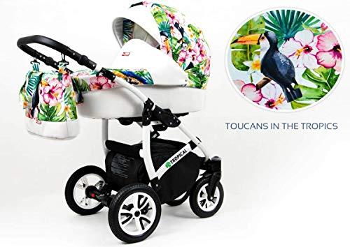 Kinderwagen Tropical, 3in1 -Set Wanne Buggy Babyschale Autositz Toucans Tropics