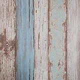 Papel tapiz auto adhesivo contacto papel azul madera textura efecto decorativo pre pegado Pelar Y Pegar colgantes para casa oficina cocina sala de estar TV fondo pared neveras (0.53 * 5.65 m)