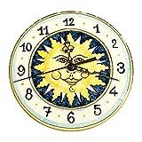 CERAMICHE D'ARTE PARRINI- Ceramica italiana artistica , orologio decorazione sole , dipinto a mano , made in ITALY Toscana