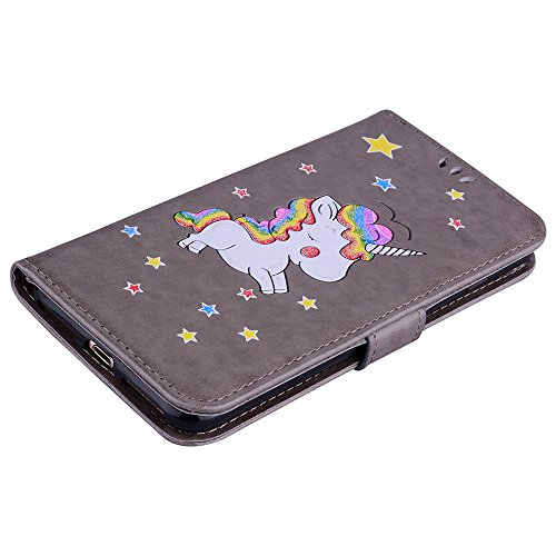 Custodia per iPhone 8 Plus / iPhone 7 Plus, ESSTORE-EU Unicorn Design Premium Custodia in PU Pelle con Custodia Innominale Soft TPU, Unicorn Carino con Bling Bling Glitter Charming Scintillante Stella Grigio