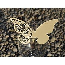 Juego de cristal mariposa soporte marcador de posición en varios colores; favor de la boda; Papel de pergamino