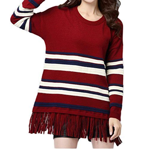 Bigood Pull-over Femme Tricot Col Rond Manches Longues Frange Rayure Rouge