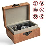 Faraday Box, Car Key Signal Blocker Box, Keyless Entry Fob RFID Blocking Pouch, Leather Anti-Theft Faraday Cage, Key Fob Storage Box, Safe Security for Remote Smart Keys Home (Medium)