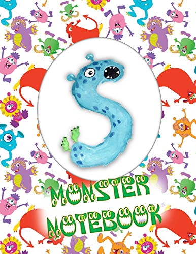 S Monster Notebook: Kids Monogrammed Journal and Doodle Book