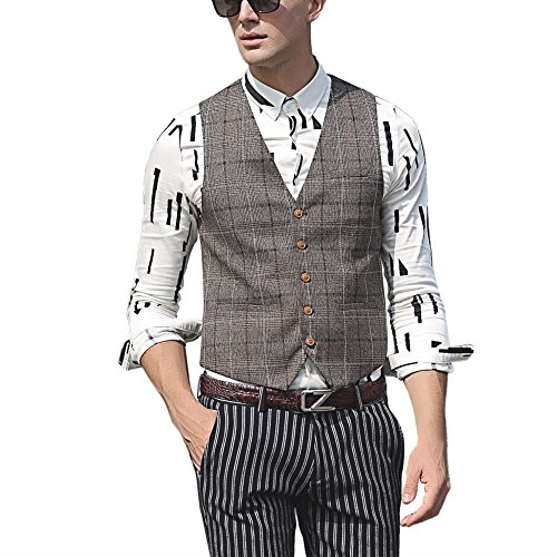 Zicac Mens Blazer Jacket Waistcoat Business Gentleman British Style 5 Buttons Classic Grey Plaid Printings Checked Outwear Casual Slim Fit Separate Vest Gilet Tops