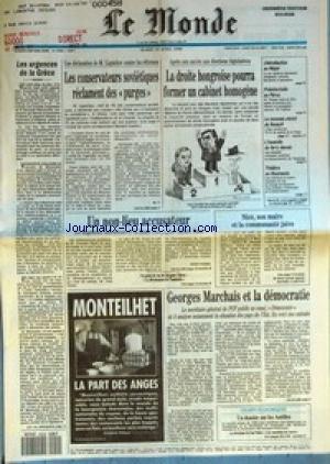 MONDE (LE) [No 14059] du 10/04/1990 - LES URGENCES DE LA GRECE - LES CONSERVATEURS SOVIETIQUES RECLAMENT DES PURGES PAR M. T. - LA DROITE HONGROISE POURRA FORMER UN CABINET HOMOGENE - LIBERALISATION AU NEPAL - PRESIDENTIELLE AU PEROU - LE NOUVEAU STATUT DE RENAULT - L'INCENDIE DU FERRY DANOIS - THEATRE EN ROUMANIE - UN NON-LIEU ACCUSATEUR PAR EDWY PLENEL - NICE, SON MAIRE ET LA COMMUNAUTE JUIVE - GEORGES MARCHAIS ET LA DEMOCRATIE - UN DOSSIER SUR LES ANTILLES - LA PART DES ANGES PAR MONTE