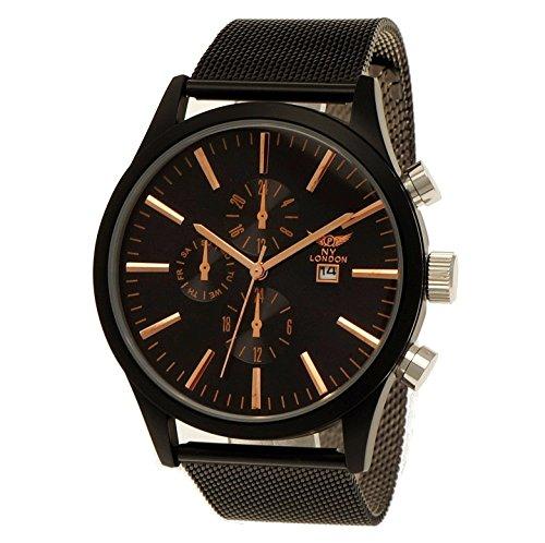 NY London Herren-Uhr Business Designer Milanaise Armband-Uhr Analog Klassisch Chronograph Optik Quarz-Uhr mit Datumsanzeige Schwarz Rose Gold (Womens-business-watch-designer)