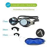 Enzodate óptico nadar gafas hipermetropía miopía RX + 1 a + 8 - 1 a-8 adultos niños fuerzas diferentes para cada ojo