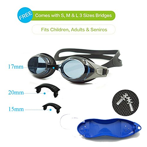 EnzoDate optische Brille Hyperopie RX + 1 bis + 8 Myopie - 1 bis-8 Erwachsene Kinder unterschiedliche Stärken für jedes Auge Schwimmen(Kraft: +3,Schwarz)
