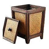 QQB &Indoor-Mülleimer Mülleimer - hochwertige Vintage Rattan Papierkorb Home kreative Holz überdachte Wohnzimmer