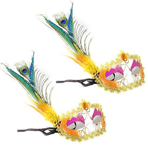 BLEVET 2PCS Masque de Plume Vénitien Carnaval Halloween pour Femme Deguisement Halloween MZ001 (Yellow)