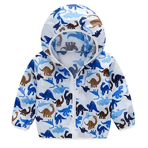 MRULIC Kinder Mädchen Jungen Floral Bedruckter Frühling mit Kapuze Licht Mantel Reißverschluss Jacke Tops Sonnenschutz Kleidung 1-6 Jahre