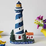 ZSWshop Ornaments Package fish aquarium landscaping multicolor coral simulation resin coral glass fish tank aquarium Landscaping Decoration decoration,Resin blue Lighthouse