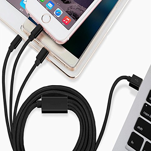 ShopsNice 3-in-1 Multi-Pin Charging Cable for Nokia X3-02 Touch and Type USB Cable With 8-Pin Lightning, Type-C, Micro USB Fiber Nylon Braided Charging Connector Cord 3.3 Feet 1 Meter for All iPhone, Android, Tablets (Random Color)